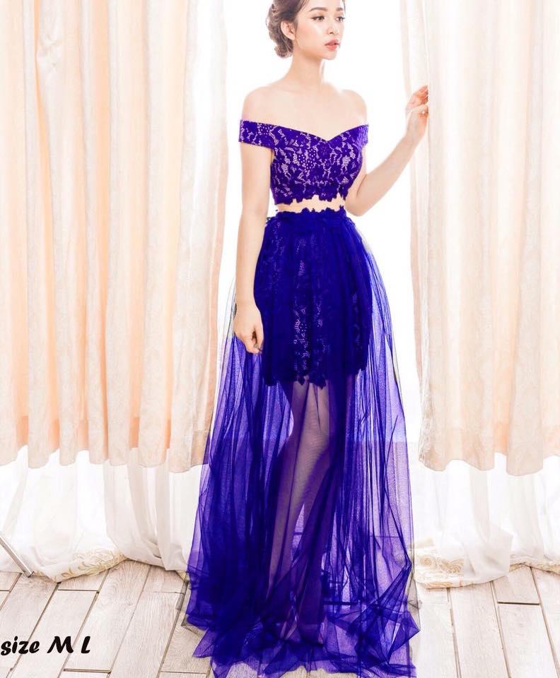 Đầm Crop Top Chân Váy Xòe