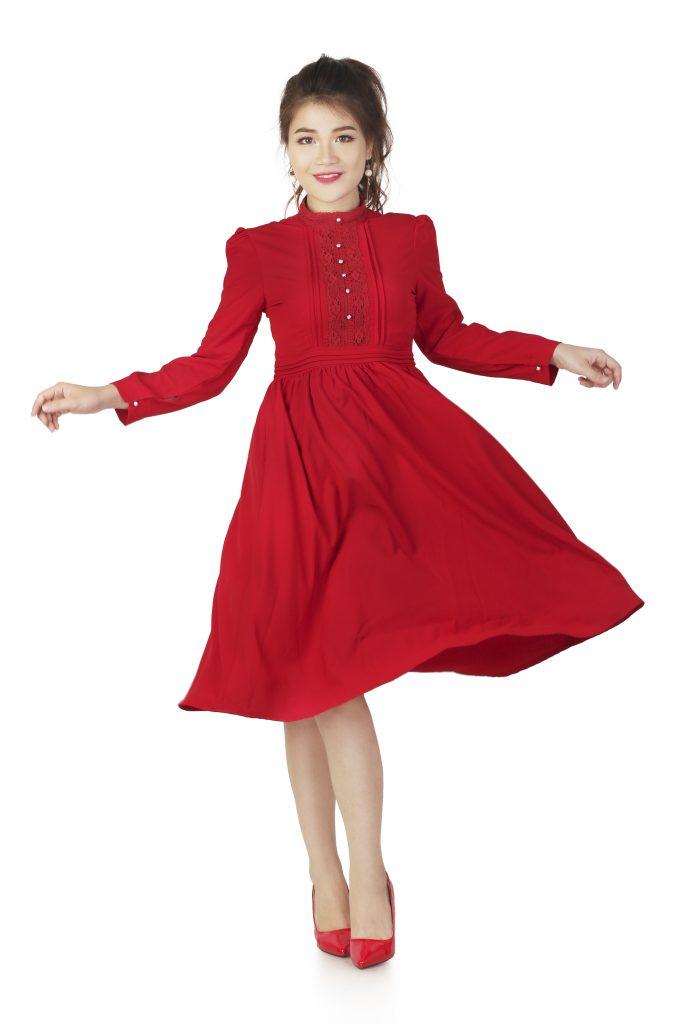 Váy đầm xòe Váy đầm xòe Váy đầm xòe đẹp cho bạn nữ dịu dàng xinh đẹp Vay dam cong so1 1