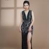 Đầm Dạ Hội Xẻ Tà Đính Ngọc Cổ V chất lượng