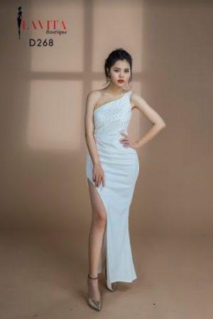 Đầm Dạ Hội Ôm Body Xẻ Tà Lệch Vai