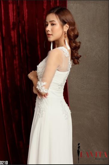 Đầm Dạ Hội Xòe Đính Ngọc Trai sang trọng, quý phái, quyến rũ