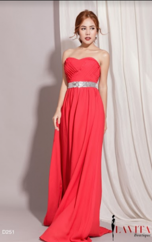 Đầm Dạ Hội Cúp Ngực Belt Kim Sa sang trọng, quý phái, quyến rũ