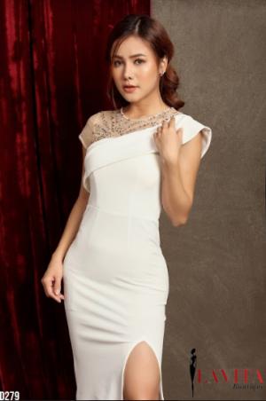 Đầm Dạ Hội Xẻ Tà Cách Điệu Cải Đính Đá sang trọng, quý phái, quyến rũ