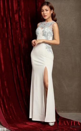 Đầm Xẻ Tà Sát Nách Đính Hoa 3D sang trọng, quý phái, quyến rũ