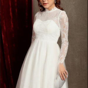 Đầm Xòe Dài Tay Phối Ren tạo sự sang trọng, quý phái, quyến rũ