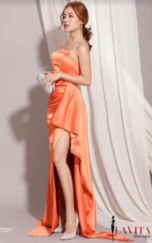 Đầm Dạ Hội Xẻ Tà Cúp Ngực Tag Nơ sang trọng, quý phái, quyến rũ