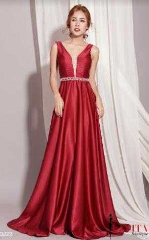 Đầm Dạ Hội Xòe Đính Đá Eo sang trọng, quý phái, quyến rũ