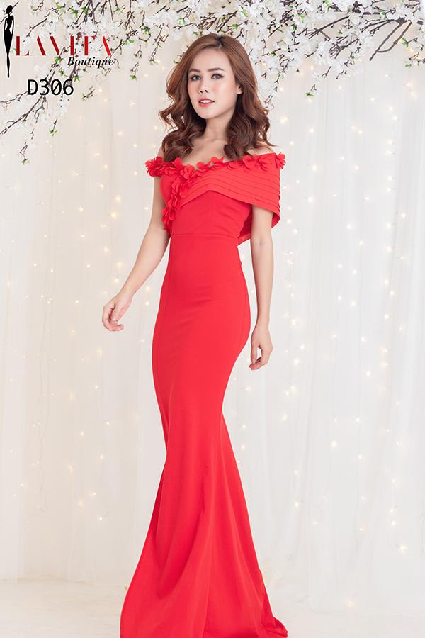Đầm Dạ Hội Ôm Body Trễ Vai Xẻ Tà sang trọng, quý phái, quyến rũ